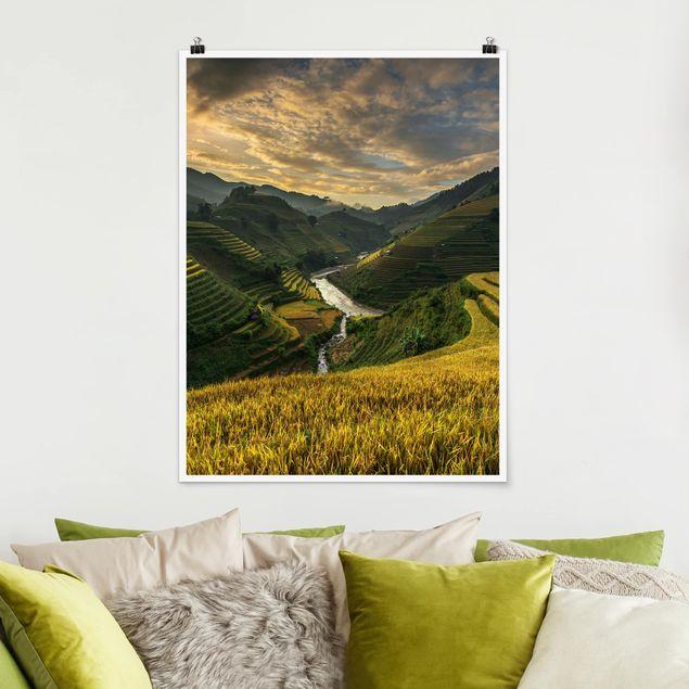 Poster - Reisplantagen in Vietnam - Hochformat 3:4