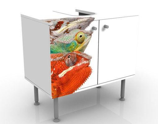 Waschbeckenunterschrank - Buntes Chamäleon - Badschrank Bunt
