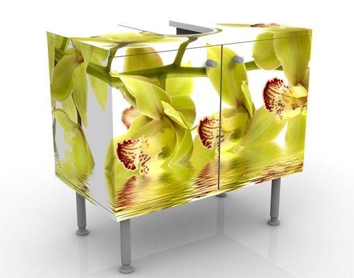 Waschbeckenunterschrank - Splendid Orchid Waters - Blumen Badschrank Weiß Gelb