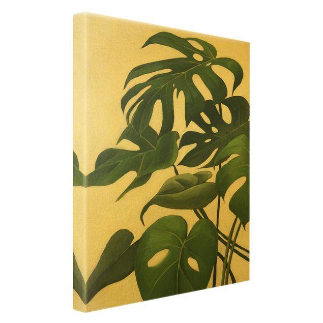 Leinwandbild Gold - Lieblingspflanzen - Monstera - Hochformat 2:3