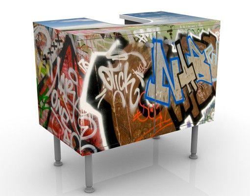 Waschbeckenunterschrank - Paradies für Skater - Badschrank Bunt