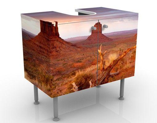 Waschbeckenunterschrank - Monument Valley bei Sonnenuntergang - Badschrank Orange Braun