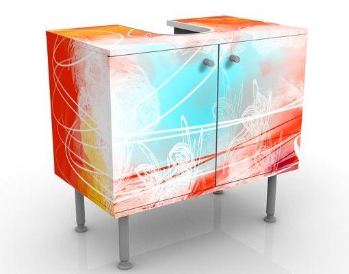 Waschbeckenunterschrank - Red Grunge With Butterflies - Badschrank Bunt