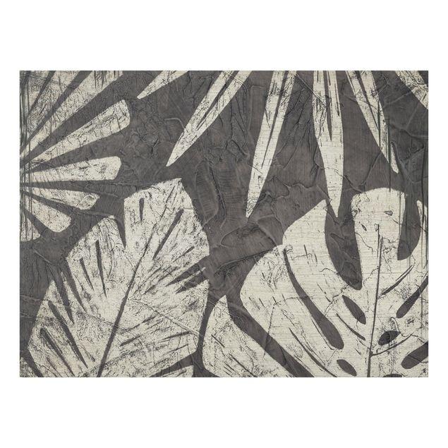Glas Spritzschutz - Palmenblätter vor Dunkelgrau - Querformat - 4:3