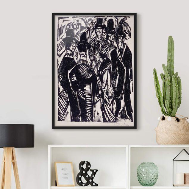 Bild mit Rahmen - Ernst Ludwig Kirchner - Straßenszene - Hochformat 3:4