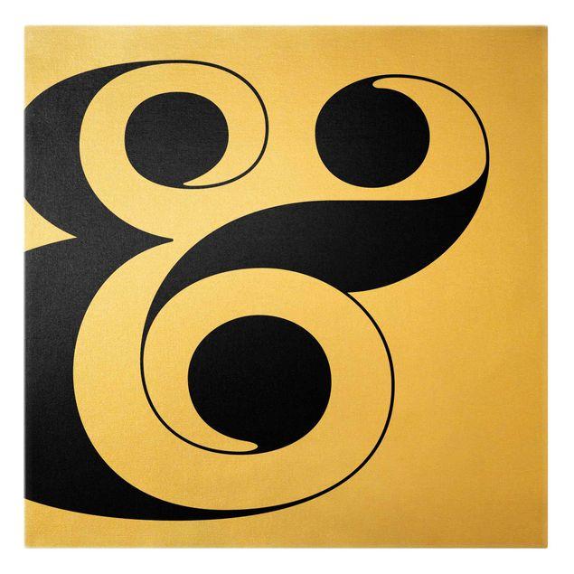 Leinwandbild Gold - Antiqua Letter & - Quadrat 1:1