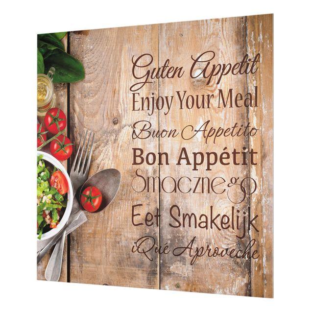 Glas Spritzschutz - Guten Appetit - Quadrat - 1:1