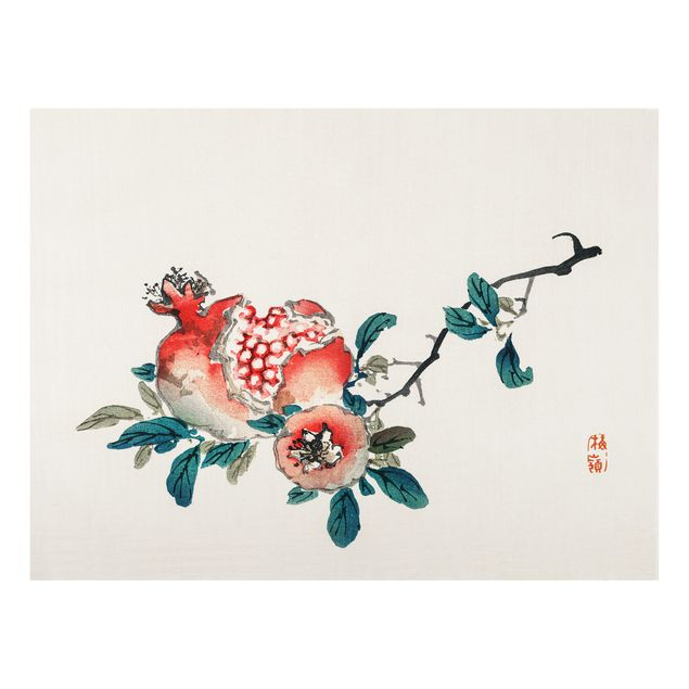 Glas Spritzschutz - Asiatische Vintage Zeichnung Granatapfel - Querformat - 4:3
