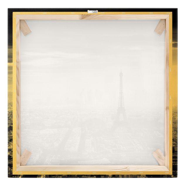 Leinwandbild Gold - Der Eiffelturm von Oben Schwarz-weiß - Quadrat 1:1
