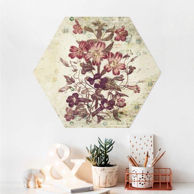 Hexagon Bild Alu-Dibond - Vintage Blütenmuster