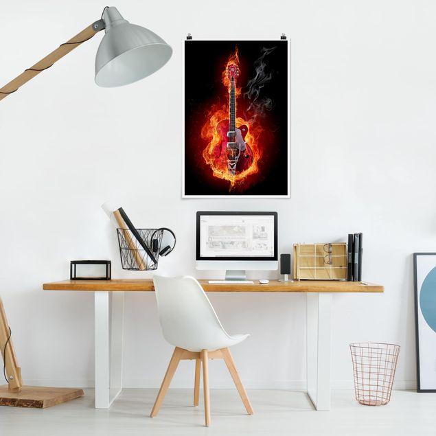 Poster - Gitarre in Flammen - Hochformat 3:2