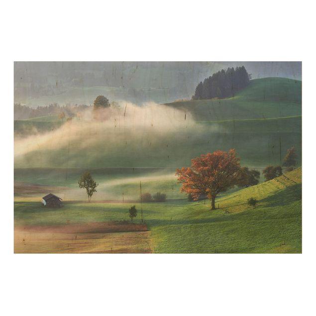Holzbild - Nebliger Herbsttag Schweiz - Querformat 2:3