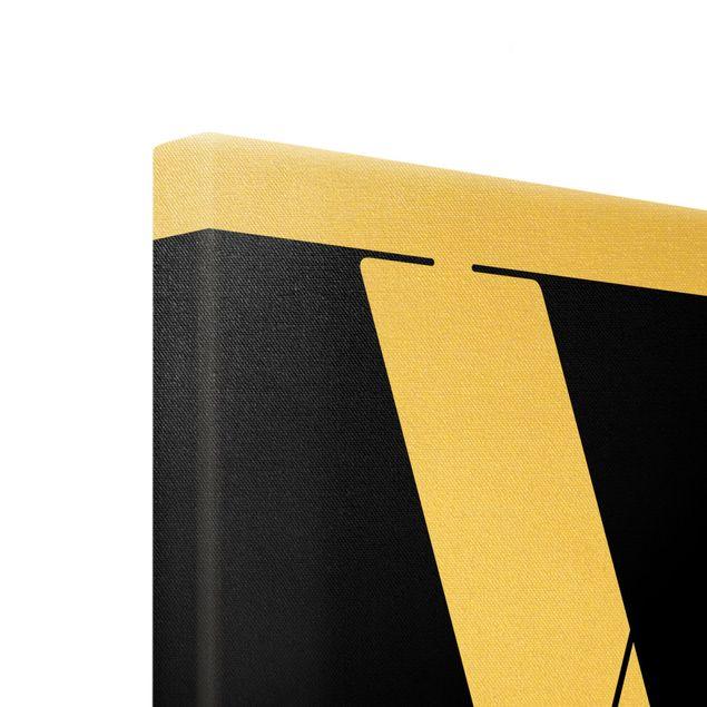 Leinwandbild Gold - Antiqua Letter W - Hochformat 3:4