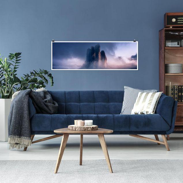 Poster - Drei Zinnen in blauem Licht - Panorama Querformat