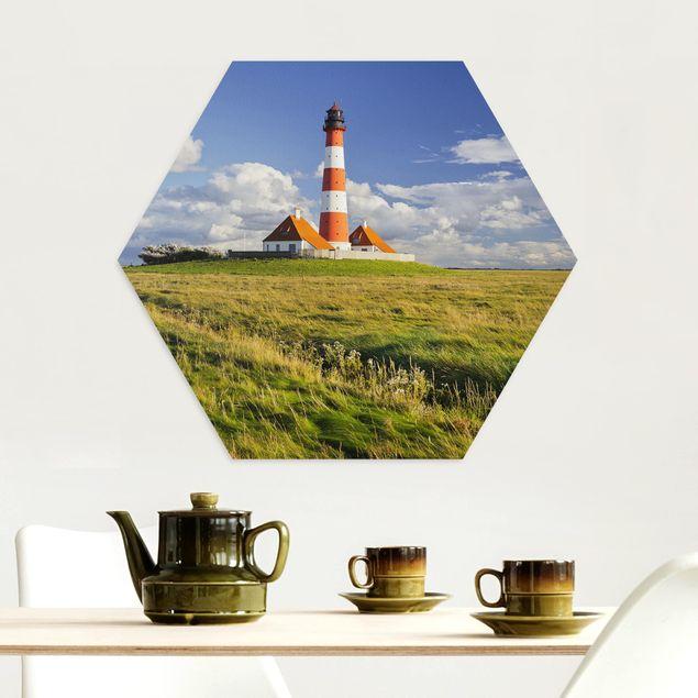 Hexagon Bild Alu-Dibond - Leuchtturm in Schleswig-Holstein