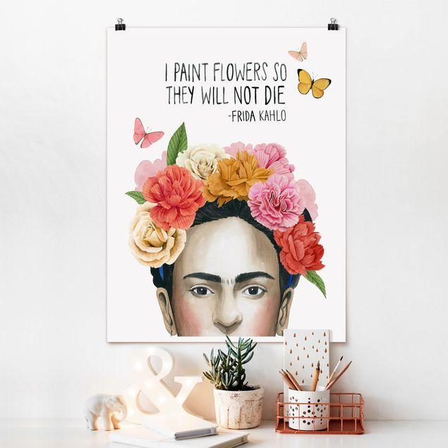 Poster - Fridas Gedanken - Blumen - Hochformat 3:4