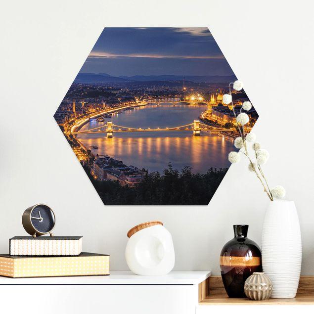 Hexagon Bild Alu-Dibond - Blick über Budapest