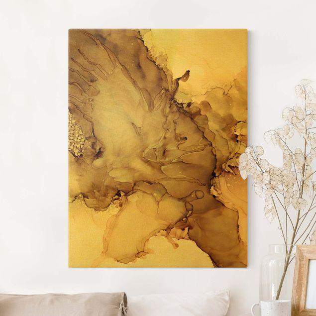 Leinwandbild Gold - Goldbraune Explosion II - Hochformat 3:4