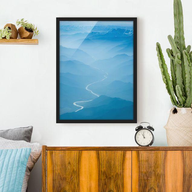 Bild mit Rahmen - Blick über den Himalaya - Hochformat 3:4