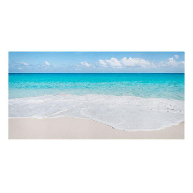Leinwandbild - Blaue Welle - Querformat 2:1