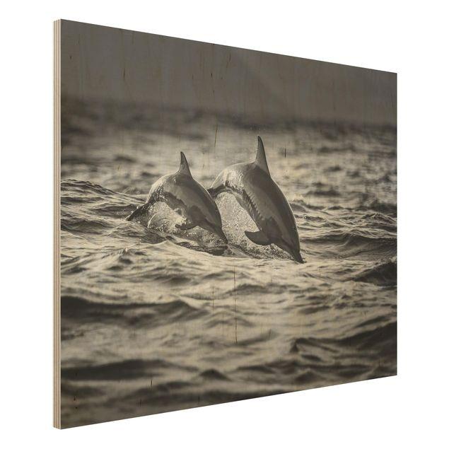 Holzbild - Zwei springende Delfine - Querformat 3:4