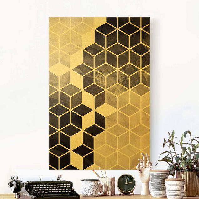 Leinwandbild Gold - Goldene Geometrie - Schwarz Weiß - Hochformat 2:3