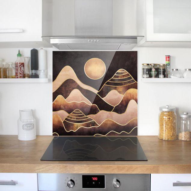 Glas Spritzschutz - Goldene Sonne abstrakte Berge - Quadrat - 1:1