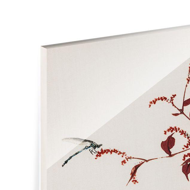 Glas Spritzschutz - Asiatische Vintage Zeichnung Roter Zweig mit Libelle - Querformat - 4:3