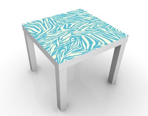 Beistelltisch - Zebra Design Blau Weiß