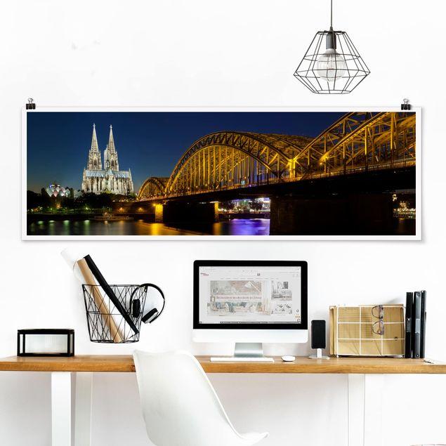 Poster - Köln bei Nacht - Panorama Querformat