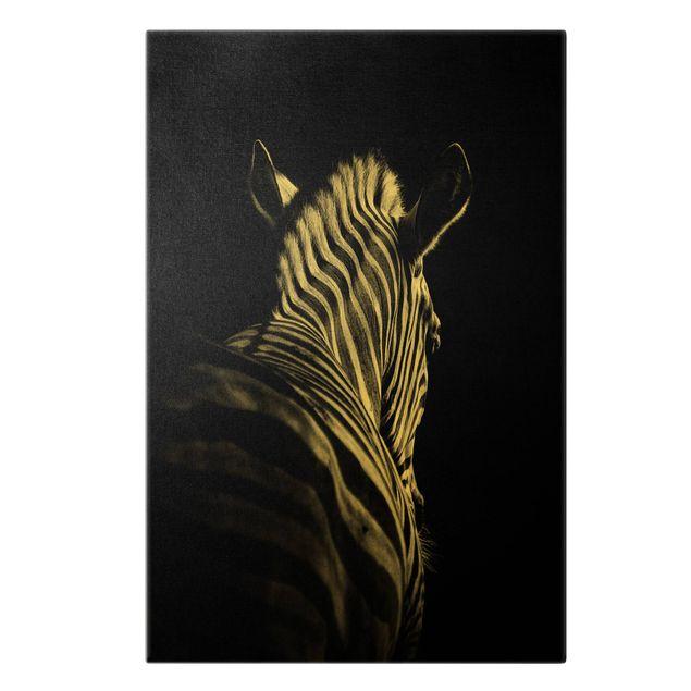 Leinwandbild Gold - Dunkle Zebra Silhouette - Hochformat 2:3