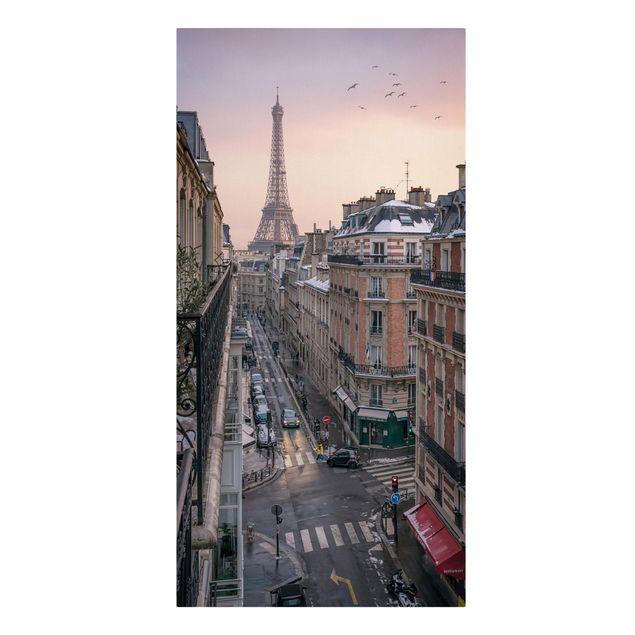 Leinwandbild - Eiffelturm bei Sonnenuntergang - Hochformat 1:2