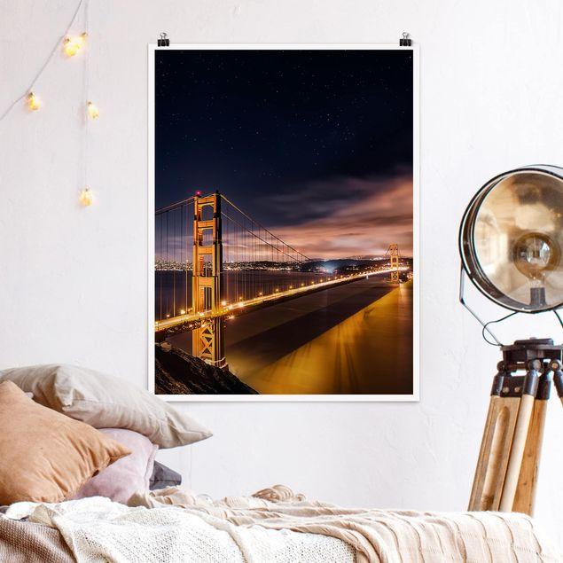 Poster - Golden Gate to Stars - Hochformat 3:4