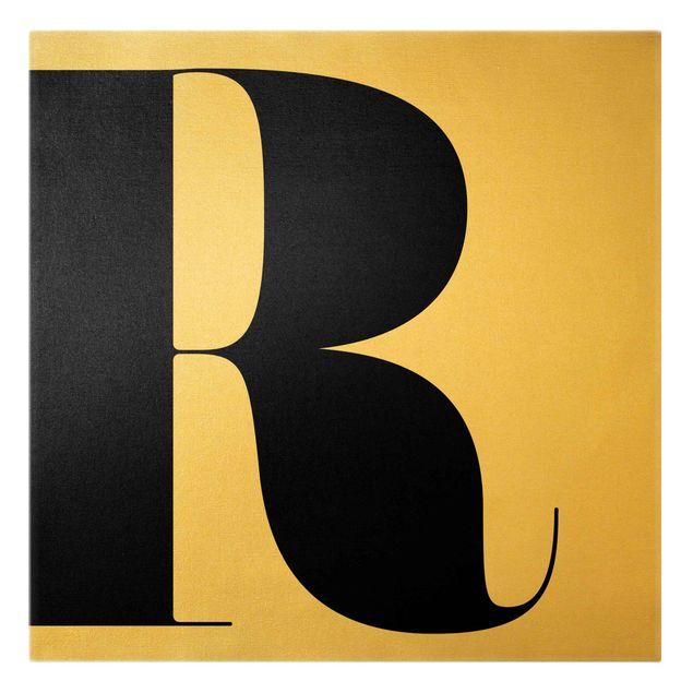 Leinwandbild Gold - Antiqua Letter R - Quadrat 1:1