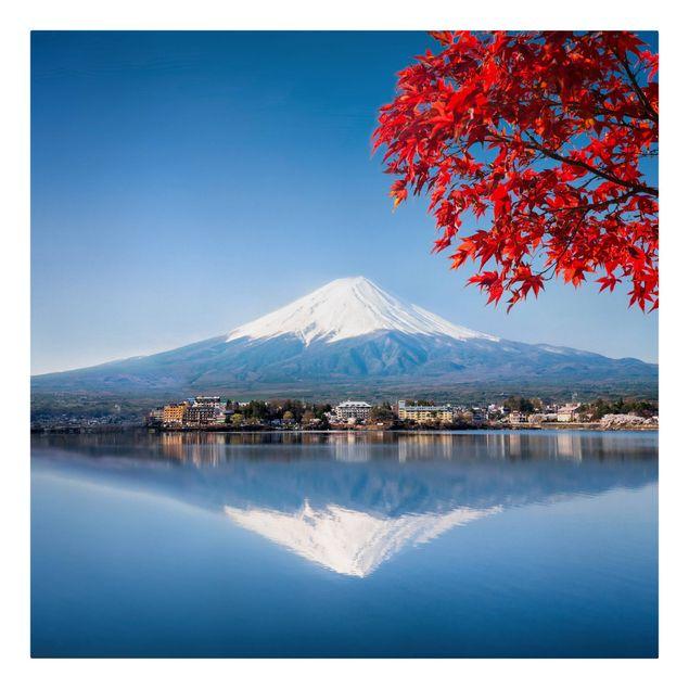 Leinwandbild - Berg Fuji im Herbst - Quadrat 1:1