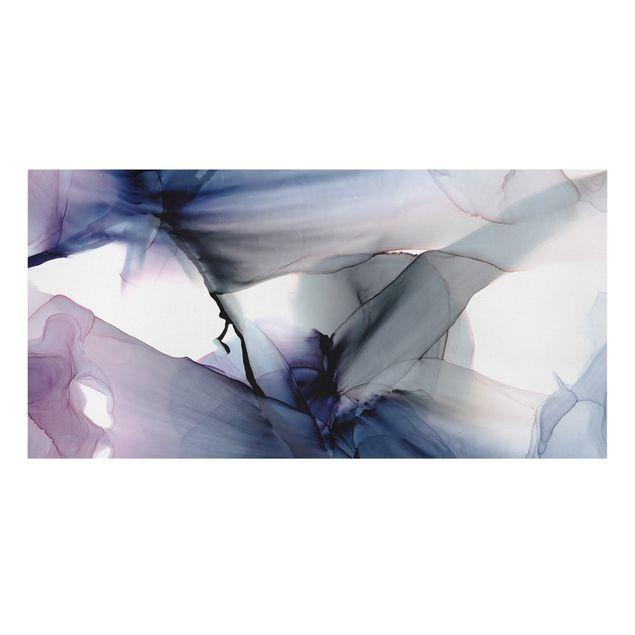 Leinwandbild - Violett im Fluss - Querformat 2:1