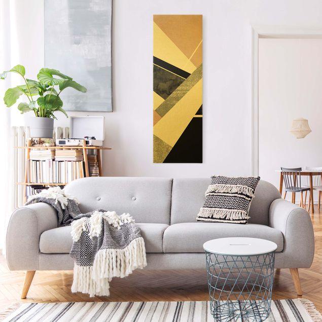 Leinwandbild Gold - Goldene Geometrie - Rosa Schwarz - Hochformat 1:3