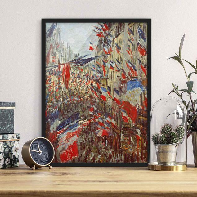 Bild mit Rahmen - Claude Monet - Straße im Flaggenschmuck - Hochformat 3:4