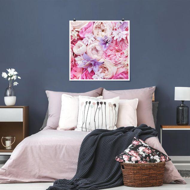 Poster - Shabby Rosen mit Glockenblumen - Quadrat 1:1