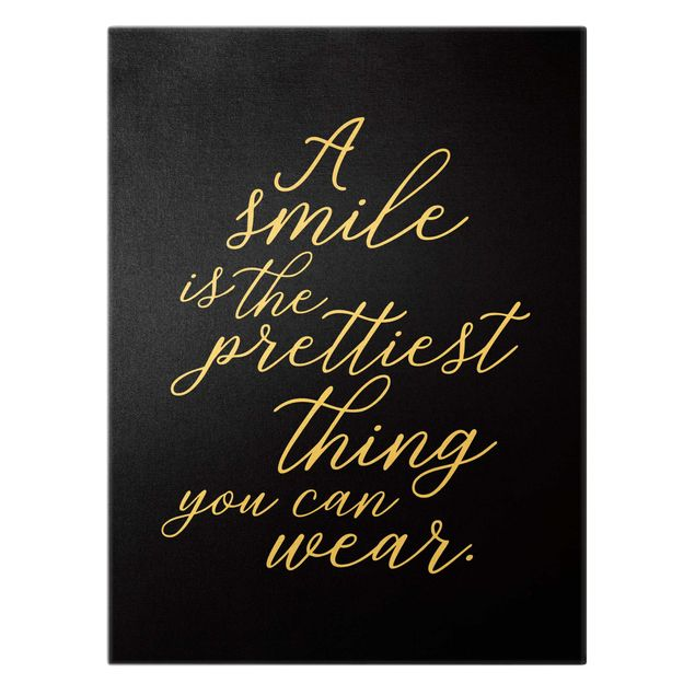 Leinwandbild Gold - A smile is the prettiest thing Schwarz - Hochformat 3:4