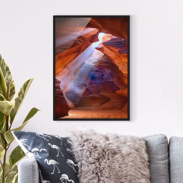 Bild mit Rahmen - Lichtspiel im Antelope Canyon - Hochformat 3:4