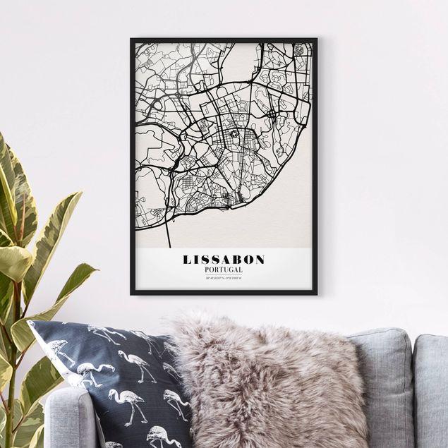 Bild mit Rahmen - Stadtplan Lissabon - Klassik - Hochformat 3:4