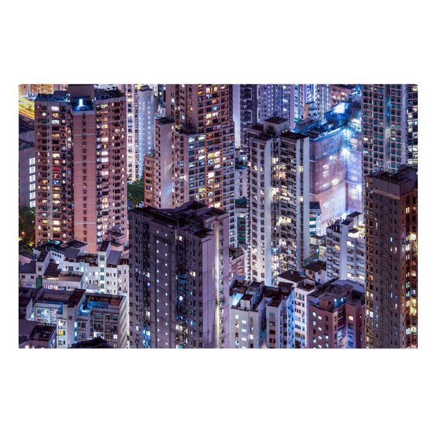 Leinwandbild - Hongkong Lichtermeer - Querformat 3:2