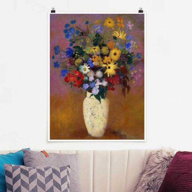 Poster - Odilon Redon - Blumen in einer Vase - Hochformat 3:4