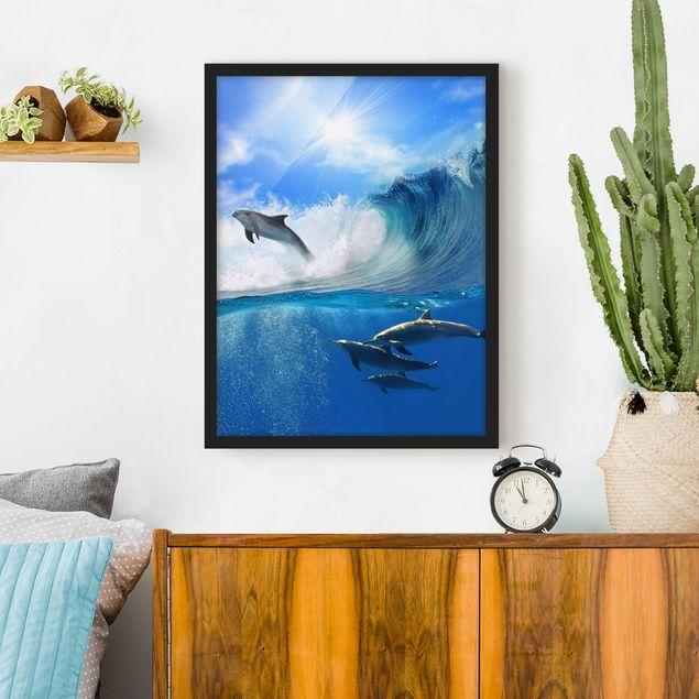 Bild mit Rahmen - Playing Dolphins - Hochformat 3:4