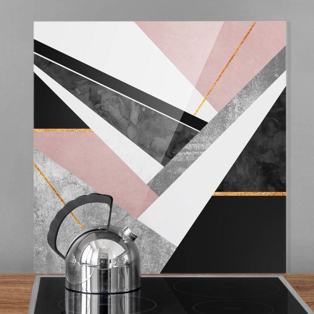 Glas Spritzschutz - Schwarz Weiß Geometrie mit Gold - Quadrat - 1:1