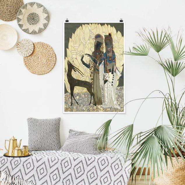 Poster - Jean Dunand - Zwei stilisierte Frauen - Hochformat 3:2