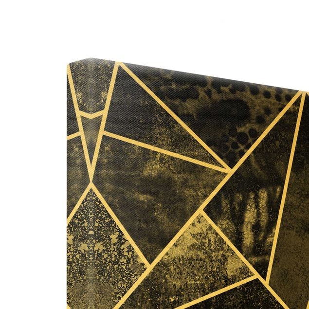 Leinwandbild Gold - Goldene Geometrie - Graue Dreiecke - Hochformat 3:4
