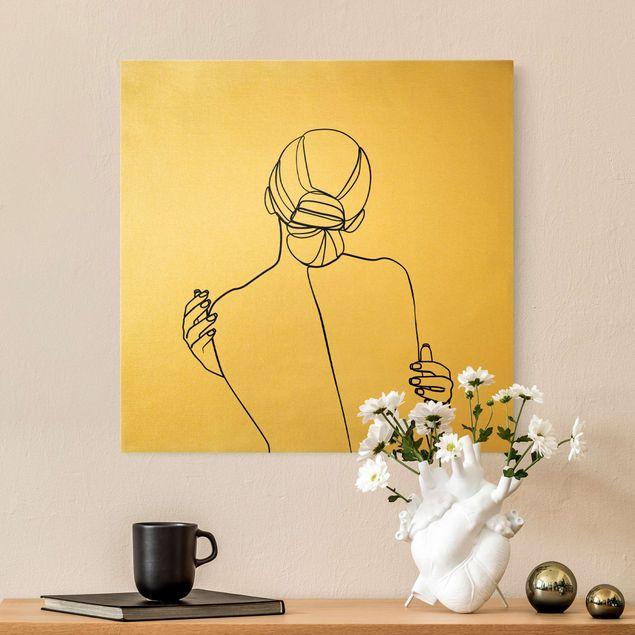 Leinwandbild Gold - Line Art Frau Rücken Schwarz Weiß - Quadrat 1:1