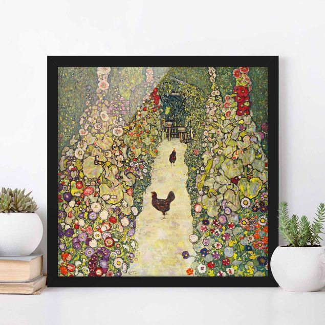Bild mit Rahmen - Gustav Klimt - Gartenweg mit Hühnern - Quadrat 1:1
